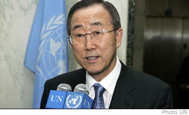 Newly appointed UN Secretary General Ban Ki-Moon