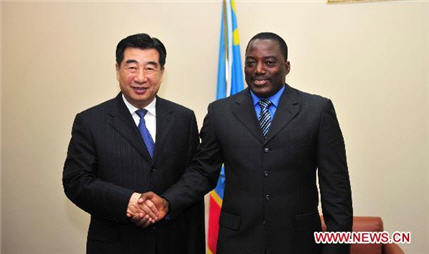 Chinese Vice Premier Hui Liangyu meets with President of the Democratic Republic of Congo (DR Congo) Joseph Kabila in Kinshasa