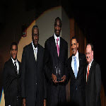 President Barack Obama with Dikembe Mutombo