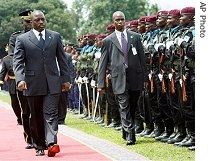 Joseph Kabila reviews the troops at the start of his inaugural ceremony at the Presidential Palace in Kinshasa, 6 Dec. 2006<br /><br />