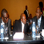 Charles Okoto, Malu Malu and Raymond Tshibanda at Kampala peace talks