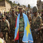 Colonel Mamadou Ndala and the FARDC are welcomed by the population in a liberated town