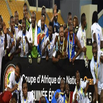 DR Congo's players celebrate after finishing third at the 2015 Africa Cup of Nations