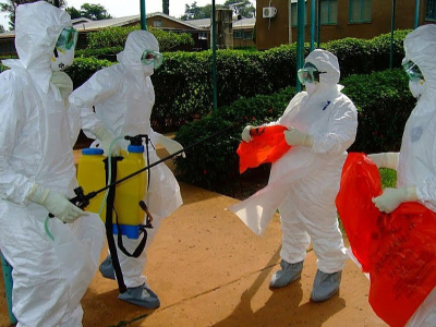 WHO health workers getting ready to treat Ebola patients this year in Kibali, Equateur Province. Photo: AFP