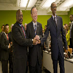 Joseph Kabila, Ban Ki-moon and Paul Kagame meet at the UN on 27 September 2012