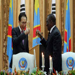 President Lee Myung bak and Joseph Kabila during a state diner in Kinshasa