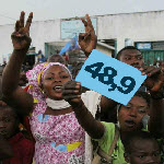 President Joseph Kabila supporters celebrates 2011 presidential election victory announced by the INEC on Dec. 9, 2011