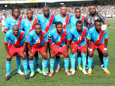 The Leopards before the game against the Nzalang in Kinshasa on 9.9.2012