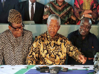 Nelson Mandela mediated peace talks between Mobutu Sese Seko and Laurent Desire Kabila on May 4, 1997