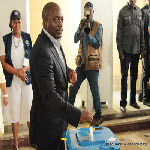 President Joseph Kabila votes on November 28, 2011