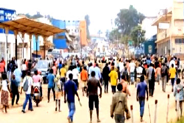 Protesters marching against the M23 in Bukavu on Wednesday