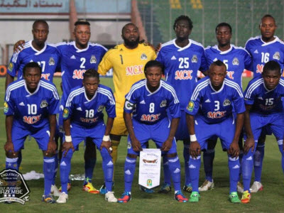 TP Mazembe players before the game against Zamalek of Egypt on 8.19.12