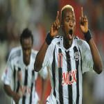 Mulota Kabangu celebrates after scoring against SC Internacional of Brazil in the semi-final of the FIFA Club World Cup