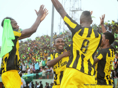 AS Vita celebrate their win against CS Sfaxien in Kinshasa on 9.21.2014