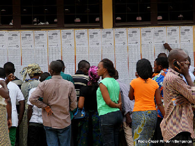Voters at a polling station in Kinshasa on Monday